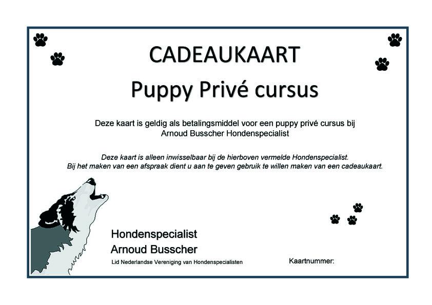 Cadeaukaart puppy cursus