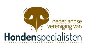 Logo Nederlandse Vereniging van Hondenspecialisten met bruine hondenneus
