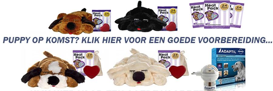 afbeelding met startpakket voor pup zoals adaptilverdamper snugglepuppy en heatpacks